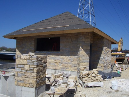 4-24-09 restroom taking shape with stone veneer