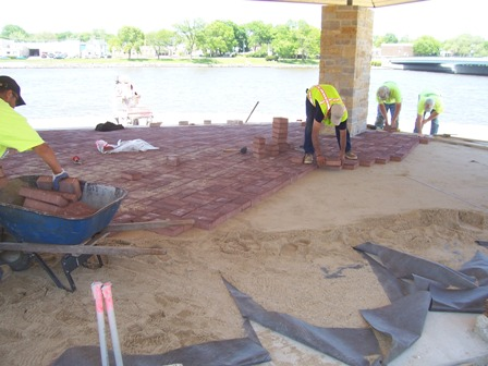 5-19-09 pavers being installed in open pavilion