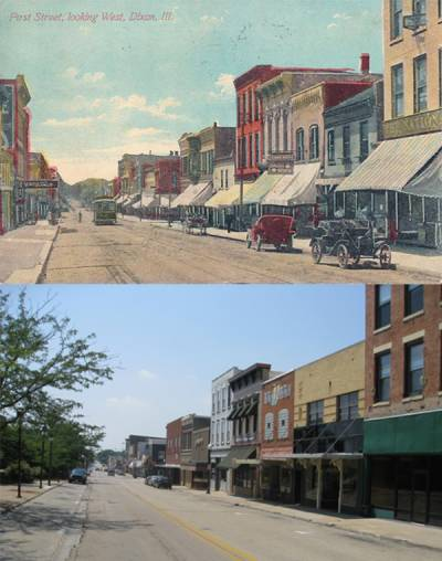 West First St. in 1911 (above). West First St. in 2011 (below).