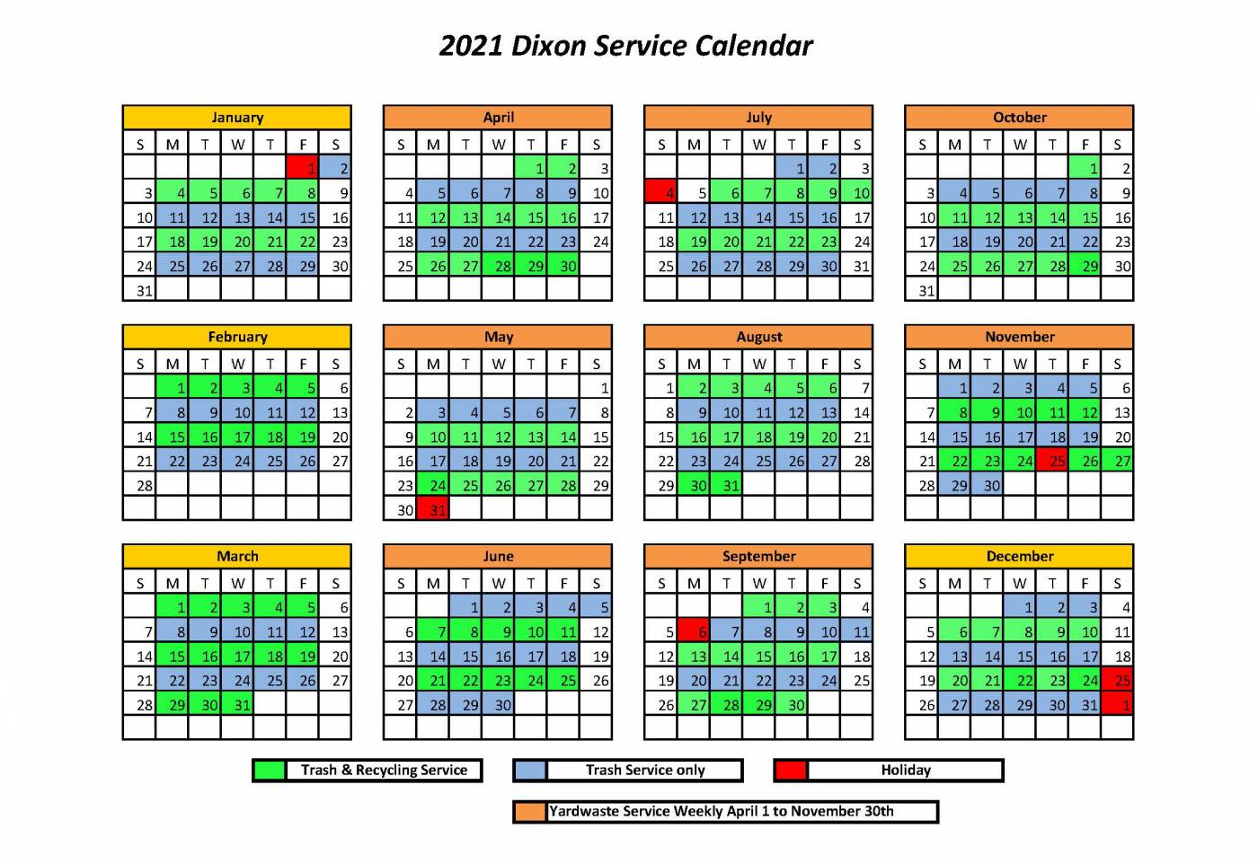 2021 Trash and Recycle Pick Up Schedule